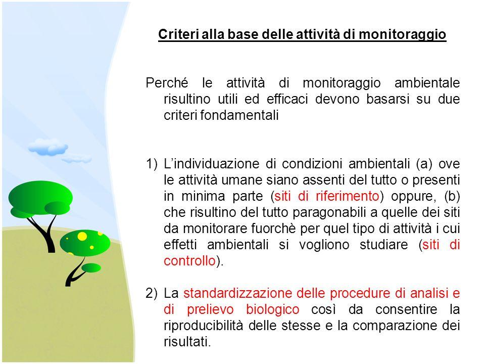 Criteri alla base delle attività di monitoraggio