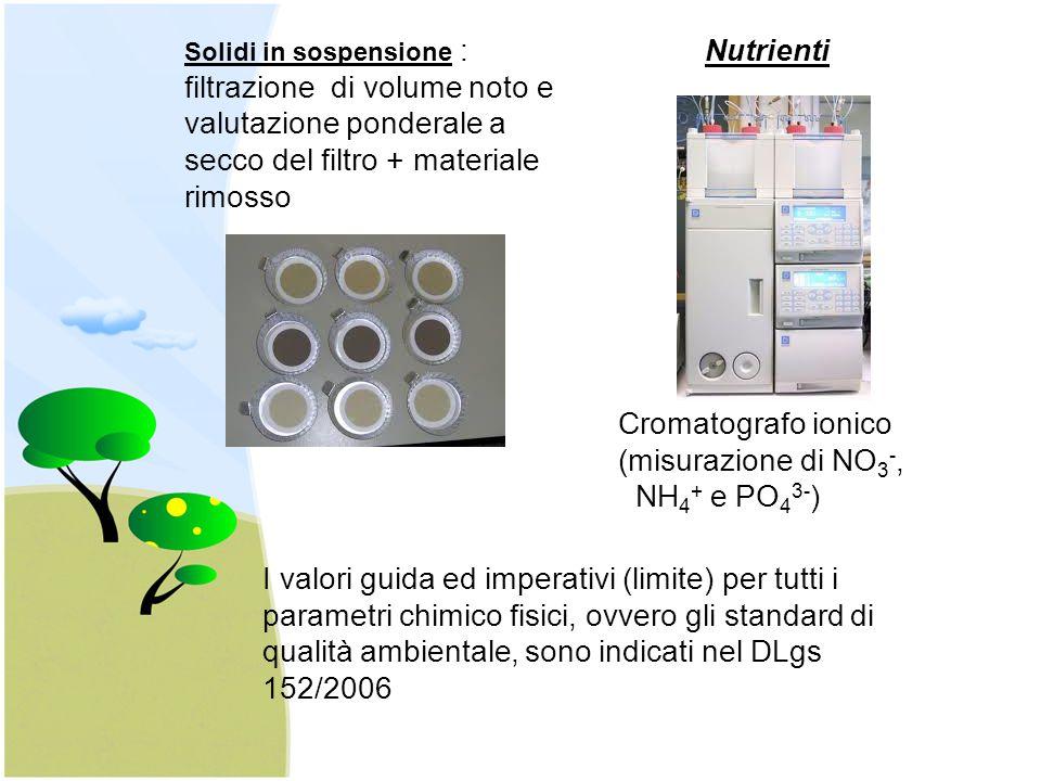 Nutrienti Cromatografo ionico (misurazione di NO3-, NH4+ e PO43-)