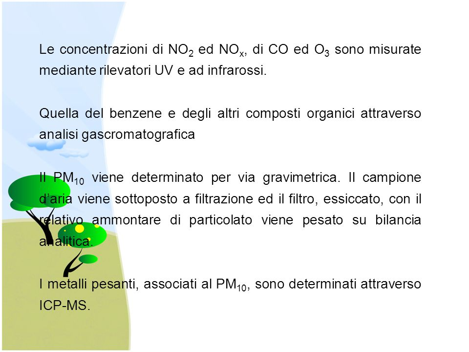 Le concentrazioni di NO2 ed NOx, di CO ed O3 sono misurate mediante rilevatori UV e ad infrarossi.