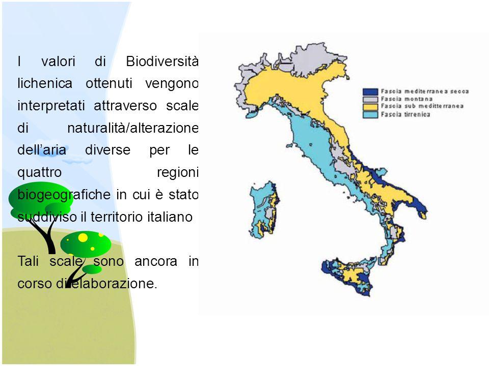 I valori di Biodiversità lichenica ottenuti vengono interpretati attraverso scale di naturalità/alterazione dell'aria diverse per le quattro regioni biogeografiche in cui è stato suddiviso il territorio italiano