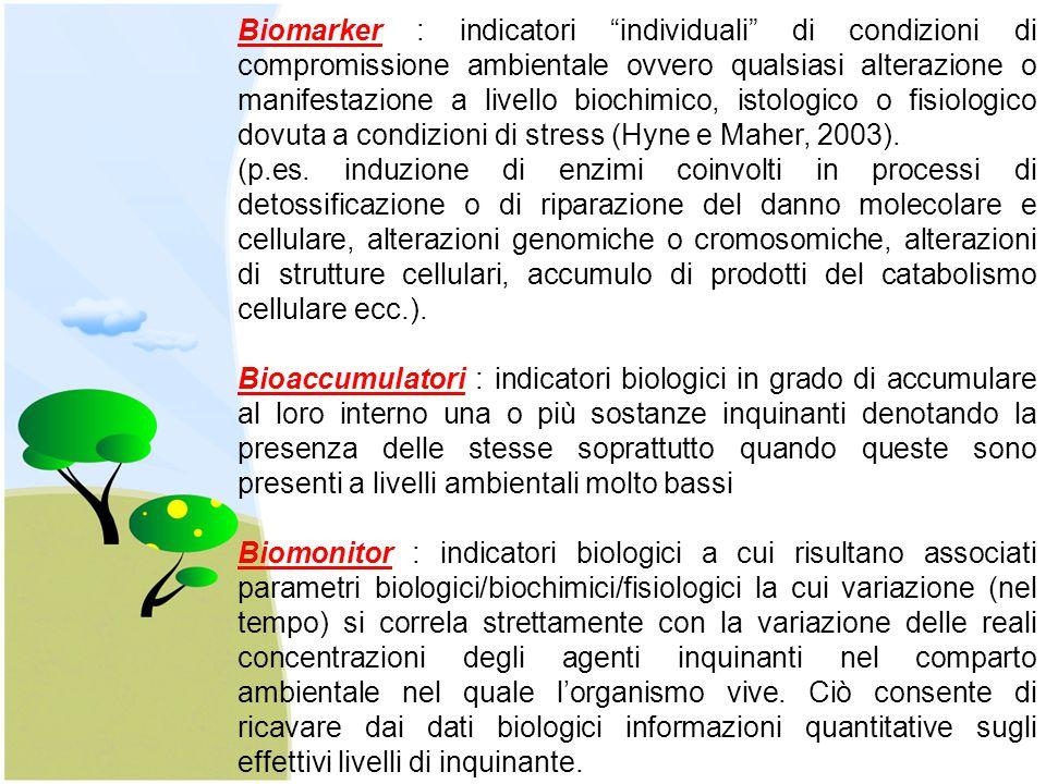 Biomarker : indicatori individuali di condizioni di compromissione ambientale ovvero qualsiasi alterazione o manifestazione a livello biochimico, istologico o fisiologico dovuta a condizioni di stress (Hyne e Maher, 2003).