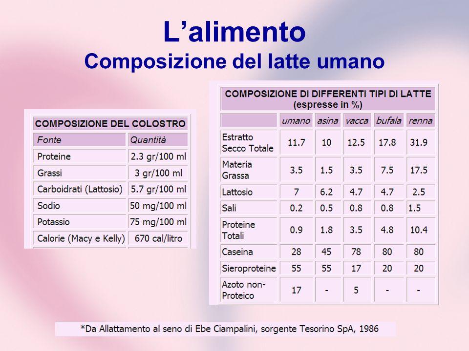 L'alimento Composizione del latte umano