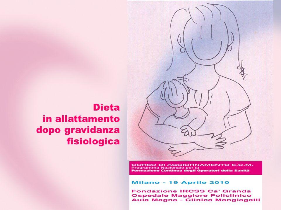 Dieta in allattamento dopo gravidanza fisiologica