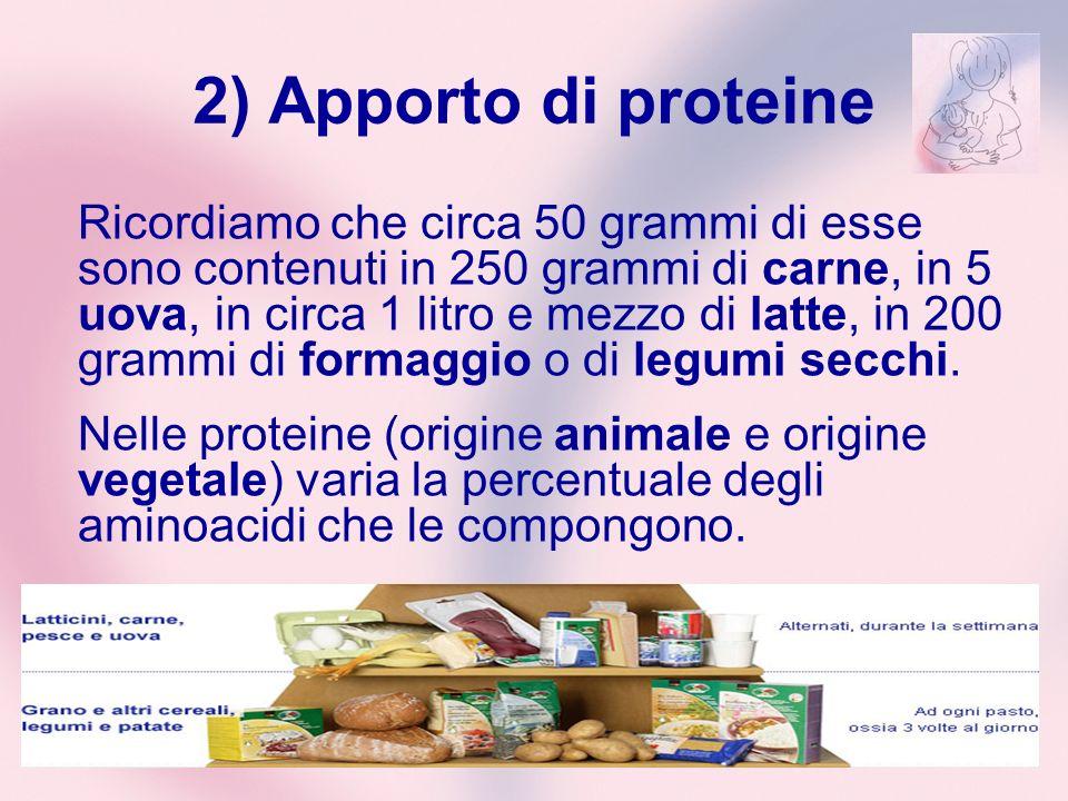 2) Apporto di proteine