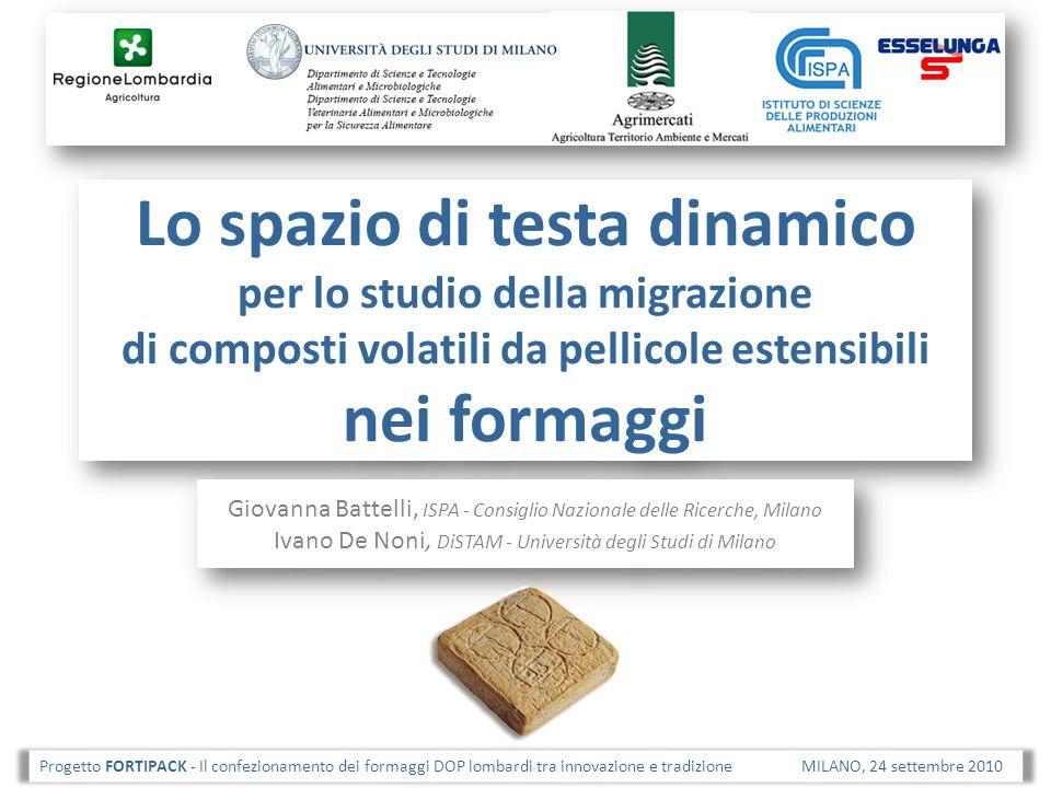 Lo spazio di testa dinamico per lo studio della migrazione di composti volatili da pellicole estensibili nei formaggi