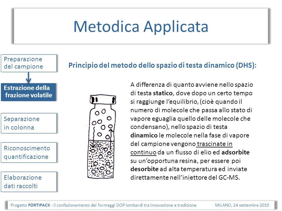 Metodica Applicata Preparazione del campione. Principio del metodo dello spazio di testa dinamico (DHS):