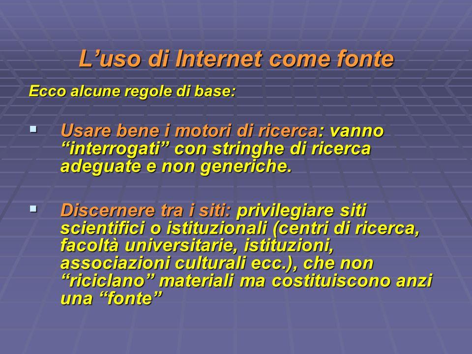 L'uso di Internet come fonte