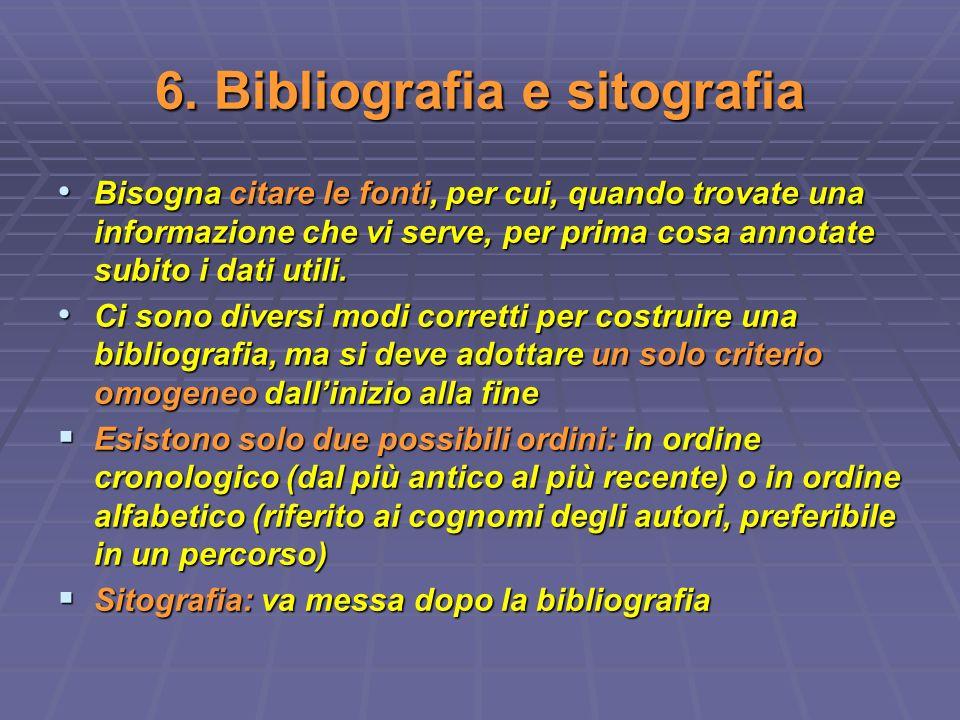6. Bibliografia e sitografia