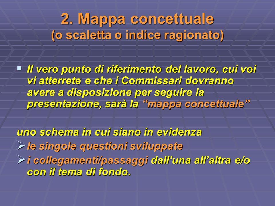 2. Mappa concettuale (o scaletta o indice ragionato)