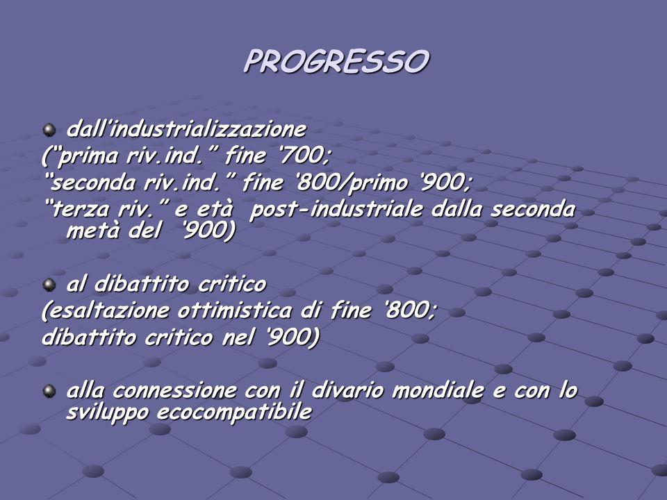 PROGRESSO dall'industrializzazione ( prima riv.ind. fine '700;