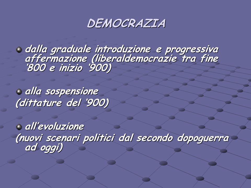 DEMOCRAZIAdalla graduale introduzione e progressiva affermazione (liberaldemocrazie tra fine '800 e inizio '900)