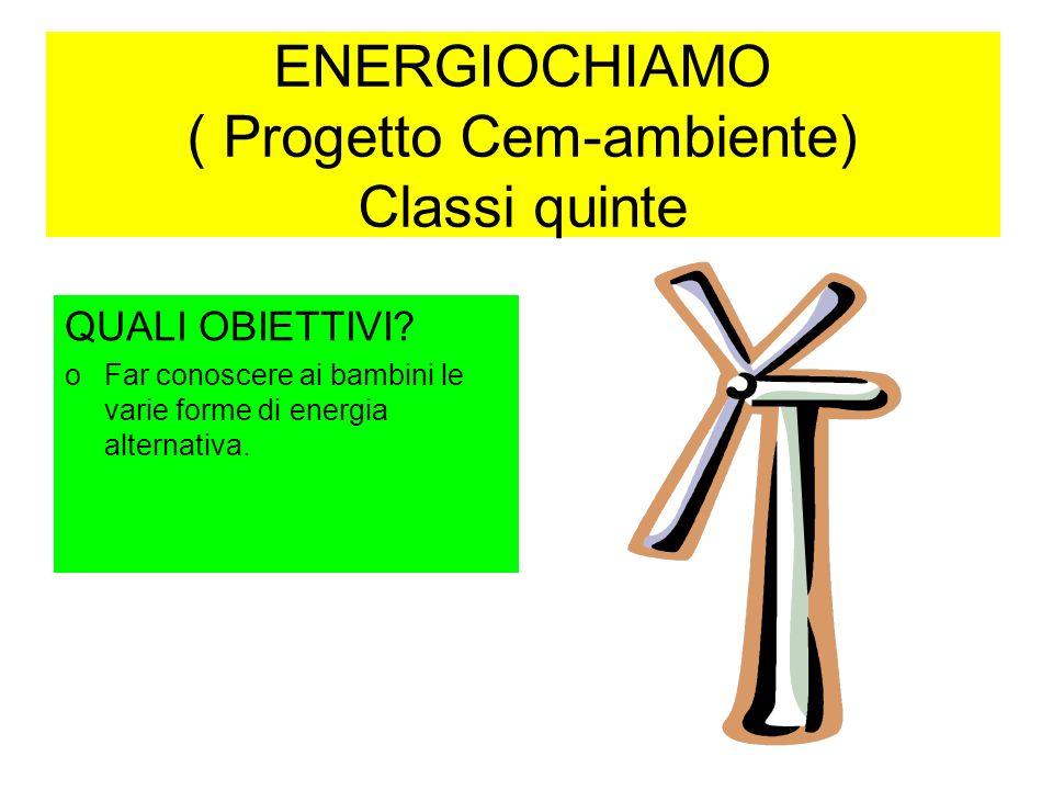ENERGIOCHIAMO ( Progetto Cem-ambiente) Classi quinte