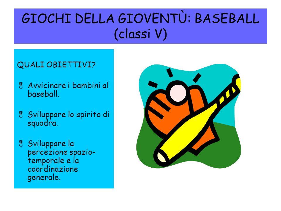 GIOCHI DELLA GIOVENTÙ: BASEBALL (classi V)