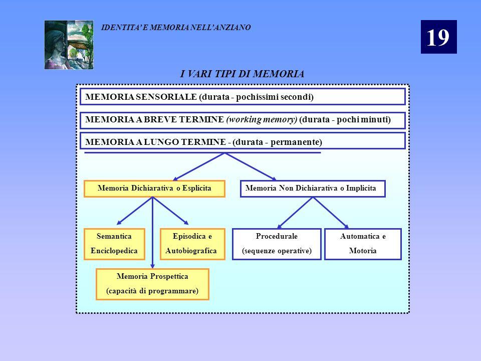 Memoria Dichiarativa o Esplicita (capacità di programmare)