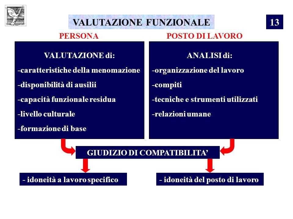 VALUTAZIONE FUNZIONALE GIUDIZIO DI COMPATIBILITA'