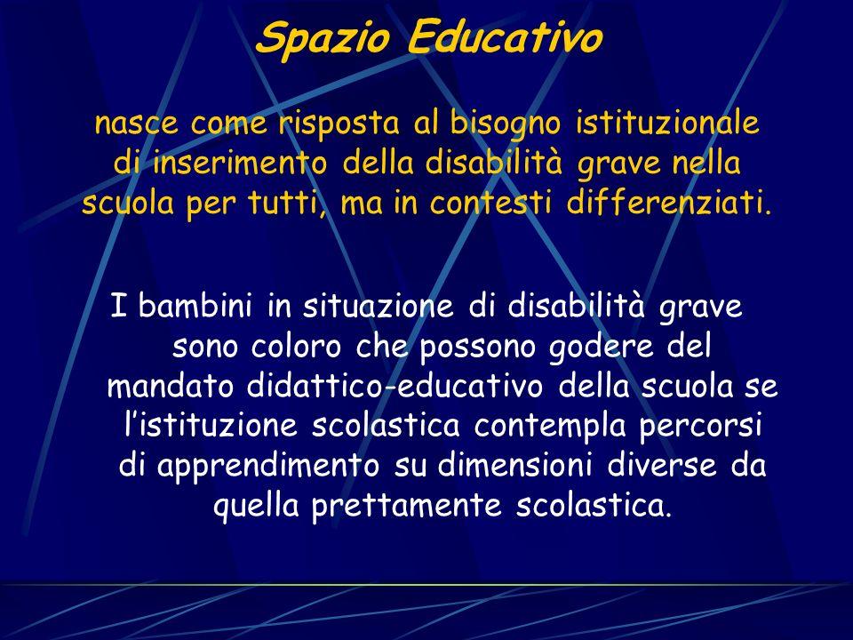 Spazio Educativo nasce come risposta al bisogno istituzionale di inserimento della disabilità grave nella scuola per tutti, ma in contesti differenziati.