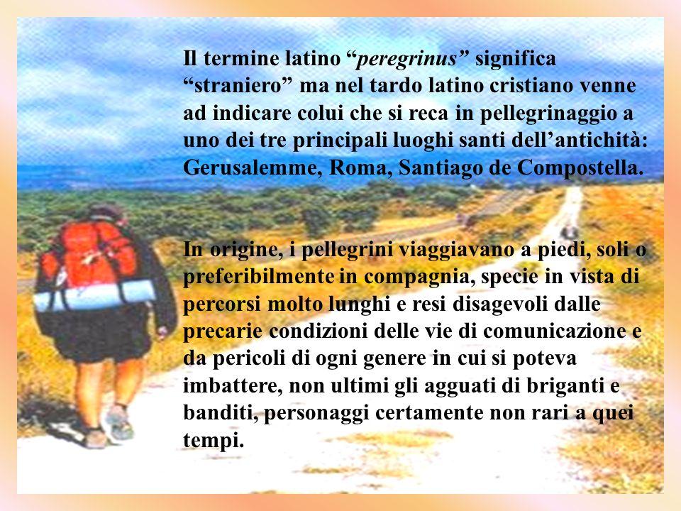 Il termine latino peregrinus significa straniero ma nel tardo latino cristiano venne ad indicare colui che si reca in pellegrinaggio a uno dei tre principali luoghi santi dell'antichità: Gerusalemme, Roma, Santiago de Compostella.