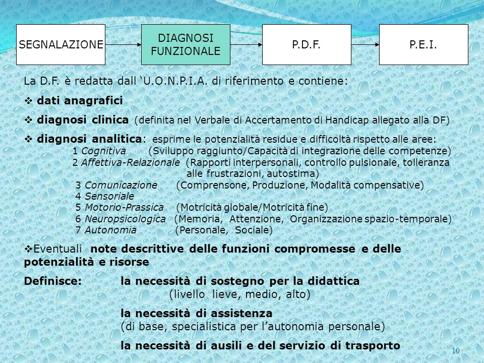 SEGNALAZIONE DIAGNOSI FUNZIONALE. P.D.F. P.E.I. La D.F. è redatta dall 'U.O.N.P.I.A. di riferimento e contiene: