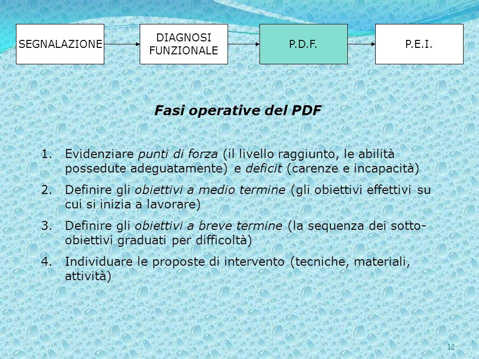 SEGNALAZIONE DIAGNOSI FUNZIONALE. P.D.F. P.E.I. Fasi operative del PDF.