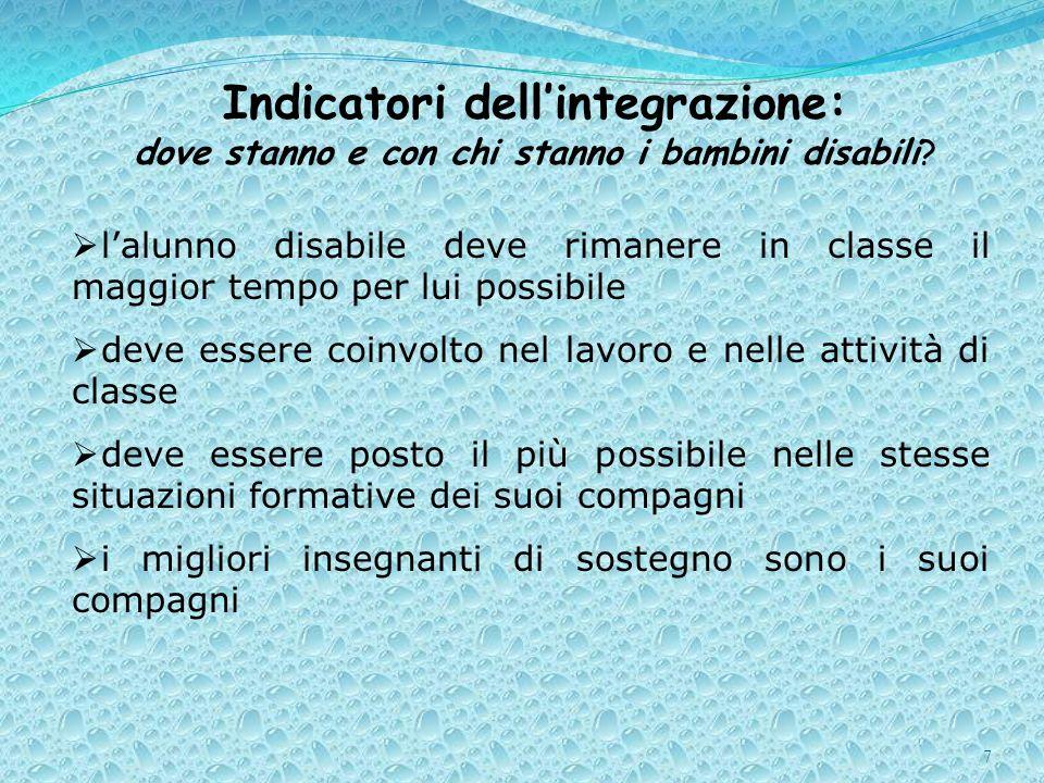 Indicatori dell'integrazione: dove stanno e con chi stanno i bambini disabili