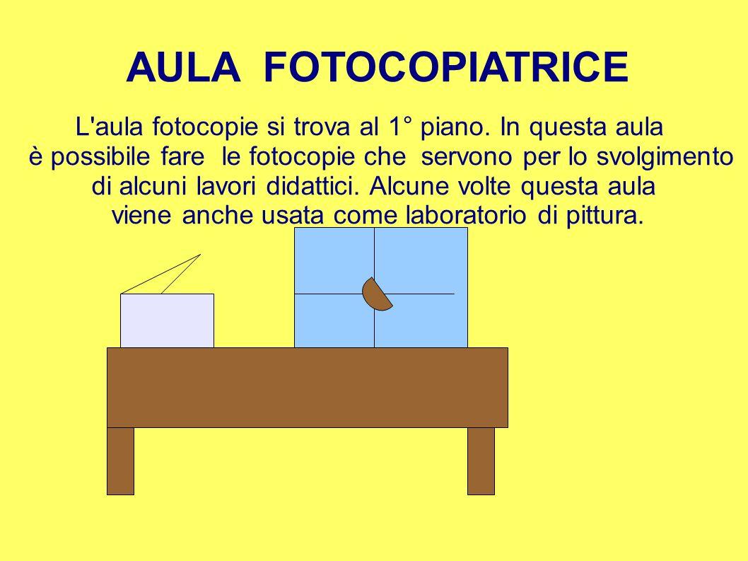 AULA FOTOCOPIATRICEL aula fotocopie si trova al 1° piano. In questa aula. è possibile fare le fotocopie che servono per lo svolgimento.