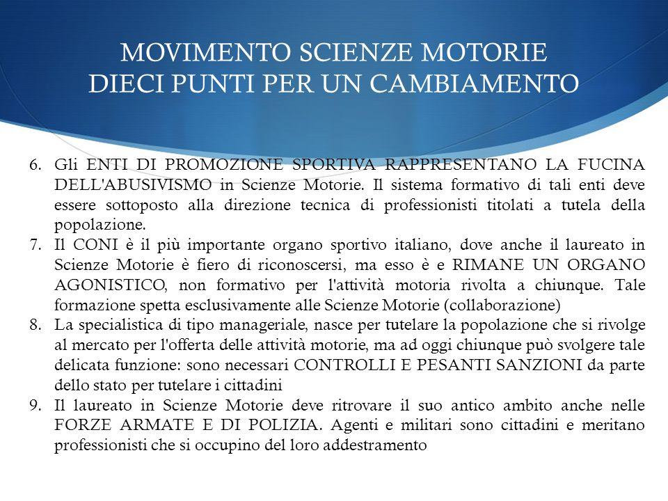 MOVIMENTO SCIENZE MOTORIE DIECI PUNTI PER UN CAMBIAMENTO