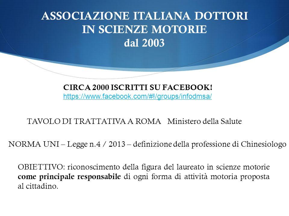 ASSOCIAZIONE ITALIANA DOTTORI IN SCIENZE MOTORIE dal 2003