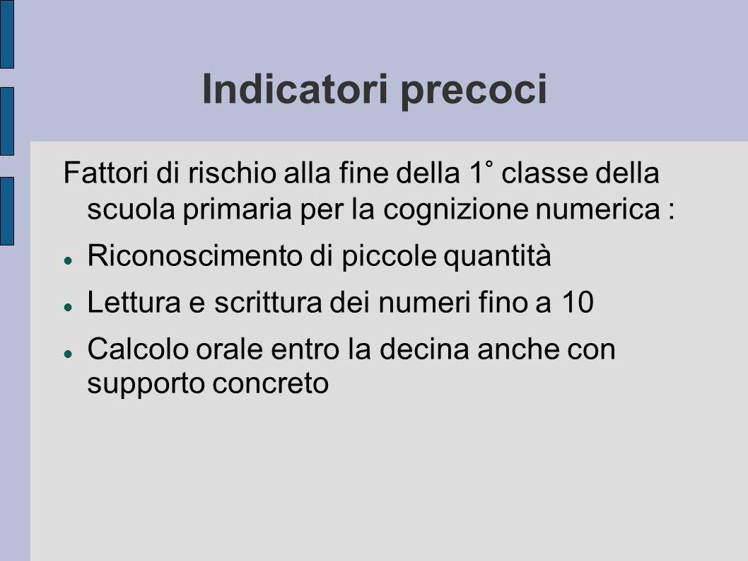 Indicatori precoci Fattori di rischio alla fine della 1° classe della scuola primaria per la cognizione numerica :