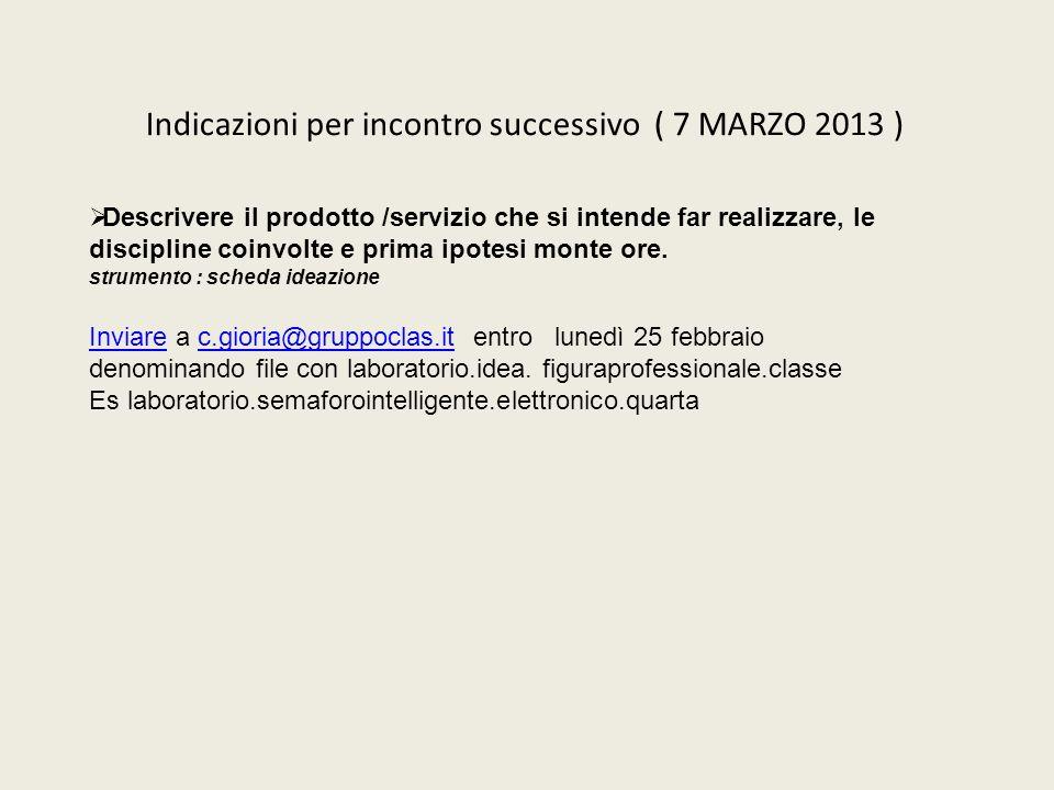Indicazioni per incontro successivo ( 7 MARZO 2013 )