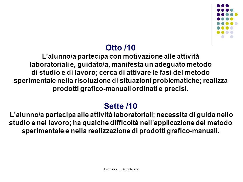 Otto /10 Sette /10 L'alunno/a partecipa con motivazione alle attività