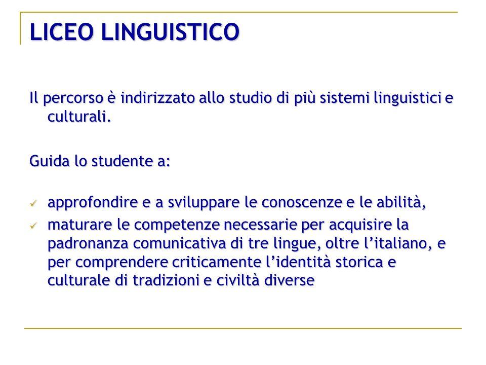 LICEO LINGUISTICO Il percorso è indirizzato allo studio di più sistemi linguistici e culturali. Guida lo studente a:
