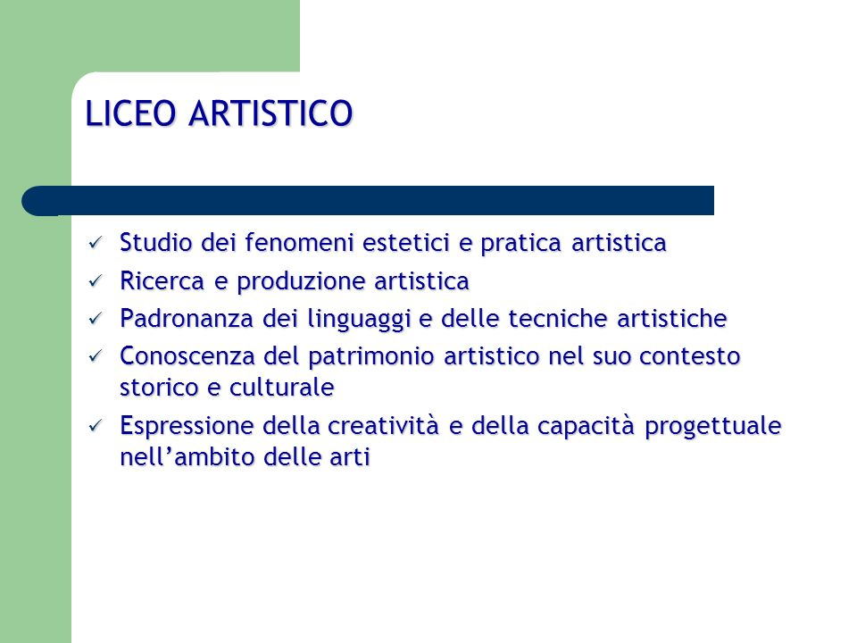 LICEO ARTISTICO Studio dei fenomeni estetici e pratica artistica