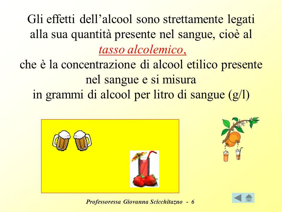 Gli effetti dell'alcool sono strettamente legati alla sua quantità presente nel sangue, cioè al tasso alcolemico, che è la concentrazione di alcool etilico presente nel sangue e si misura in grammi di alcool per litro di sangue (g/l)