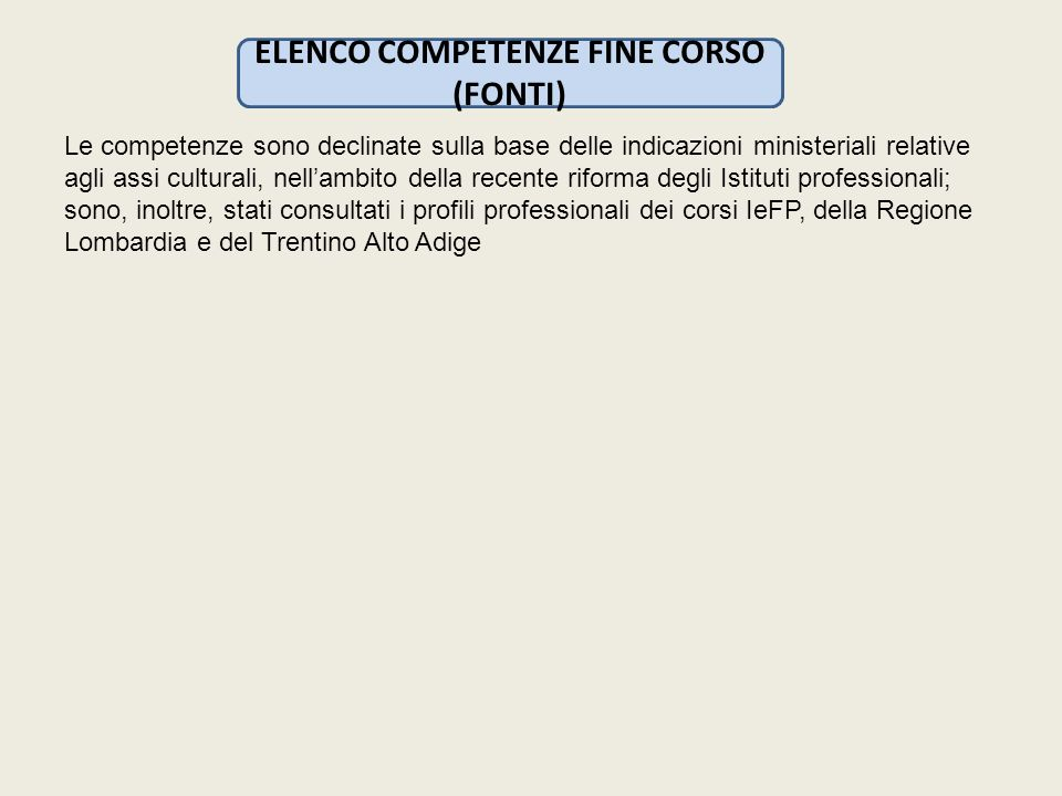 ELENCO COMPETENZE FINE CORSO