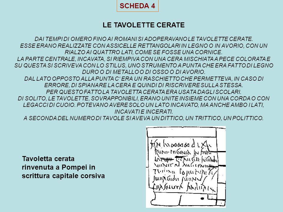 Tavoletta cerata rinvenuta a Pompei in scrittura capitale corsiva