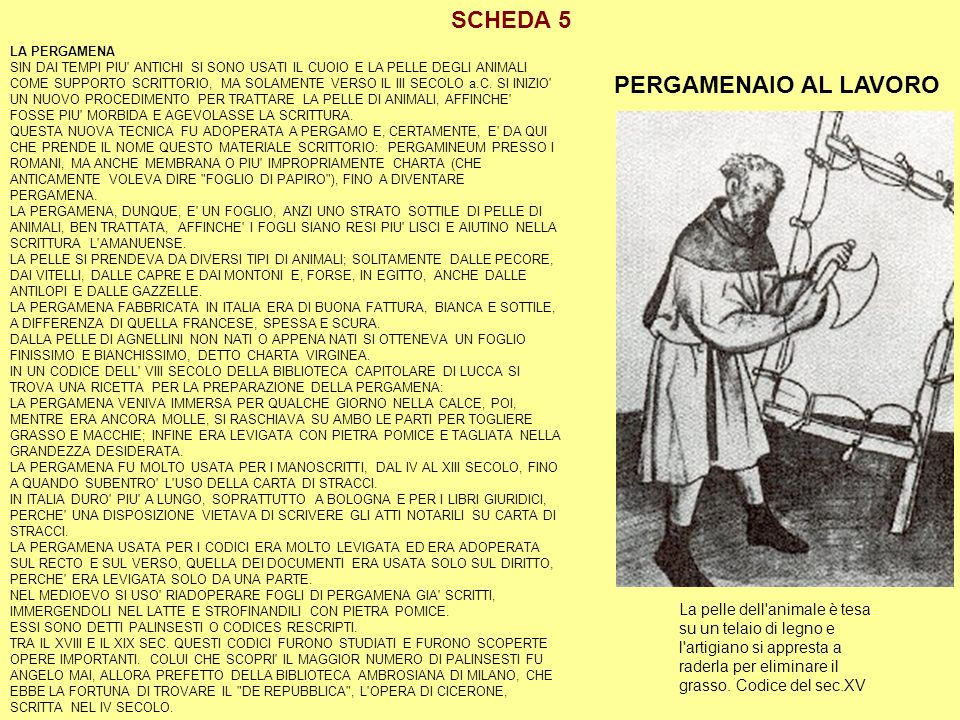 SCHEDA 5 PERGAMENAIO AL LAVORO