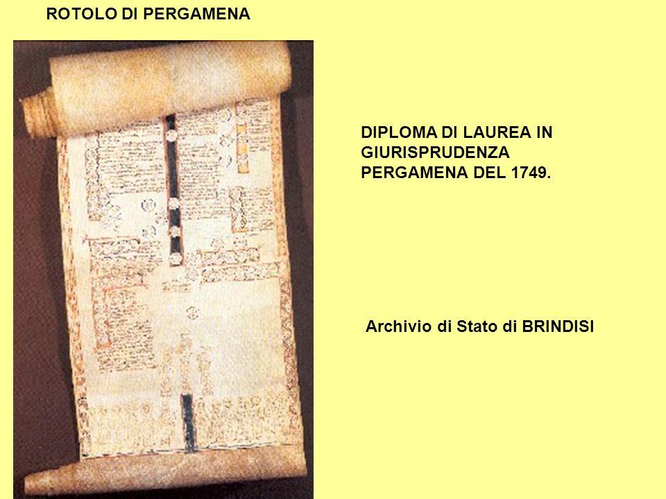 ROTOLO DI PERGAMENA DIPLOMA DI LAUREA IN GIURISPRUDENZA PERGAMENA DEL 1749.