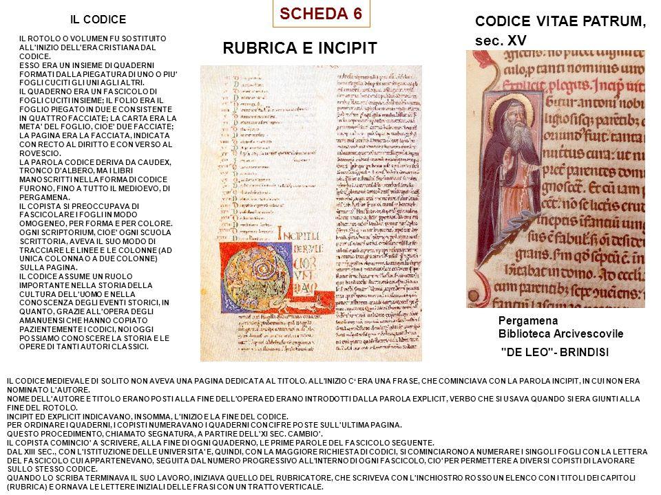 SCHEDA 6 RUBRICA E INCIPIT CODICE VITAE PATRUM, sec. XV IL CODICE