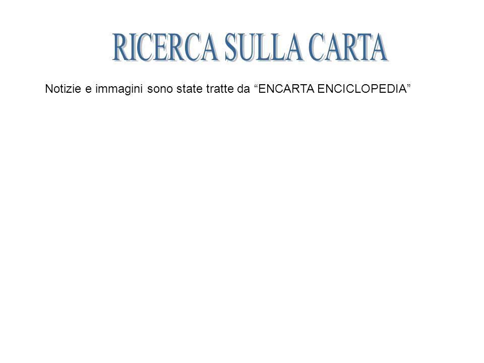 RICERCA SULLA CARTA Notizie e immagini sono state tratte da ENCARTA ENCICLOPEDIA