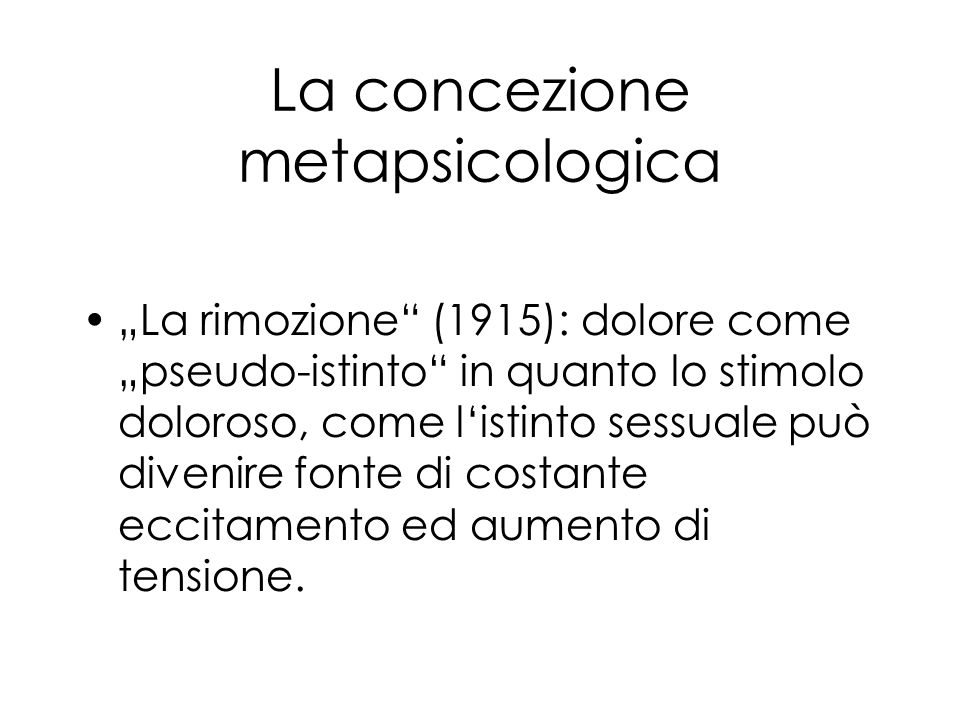 La concezione metapsicologica