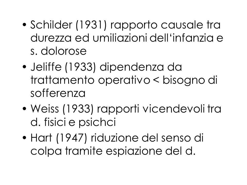 Schilder (1931) rapporto causale tra durezza ed umiliazioni dell'infanzia e s. dolorose