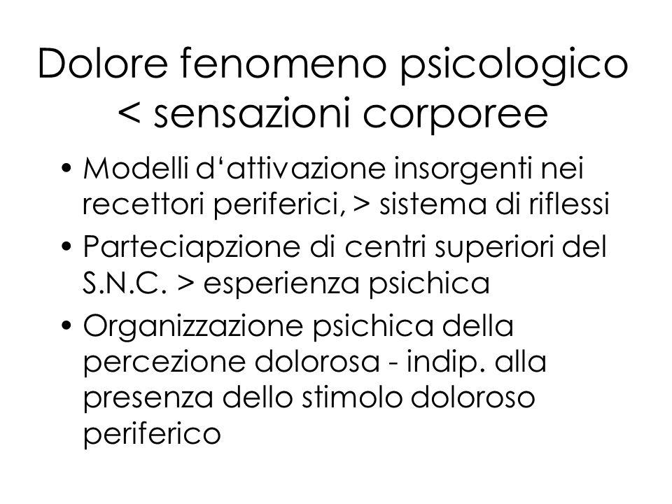 Dolore fenomeno psicologico < sensazioni corporee