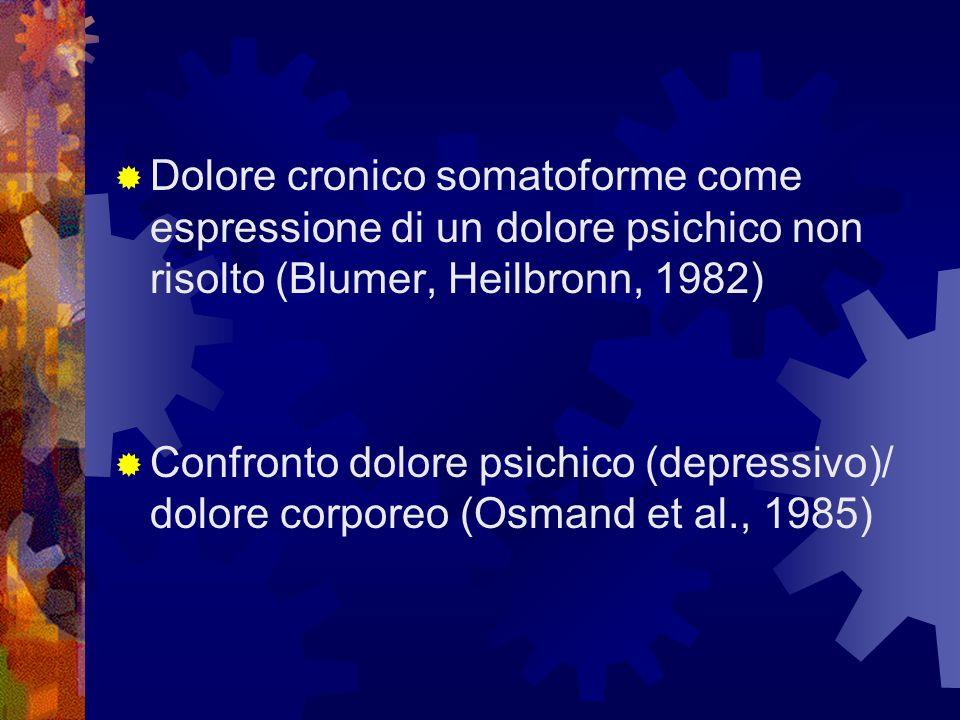Dolore cronico somatoforme come espressione di un dolore psichico non risolto (Blumer, Heilbronn, 1982)