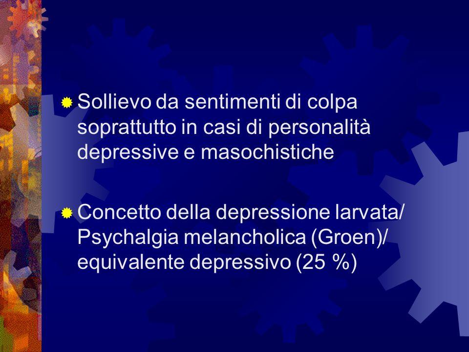 Sollievo da sentimenti di colpa soprattutto in casi di personalità depressive e masochistiche