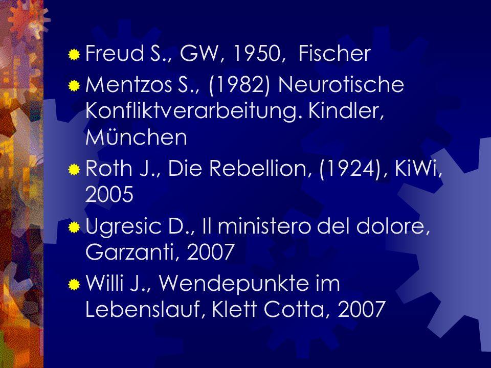 Freud S., GW, 1950, Fischer Mentzos S., (1982) Neurotische Konfliktverarbeitung. Kindler, München.
