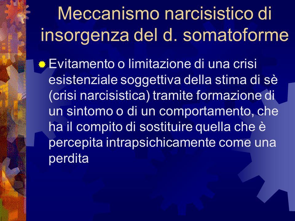 Meccanismo narcisistico di insorgenza del d. somatoforme