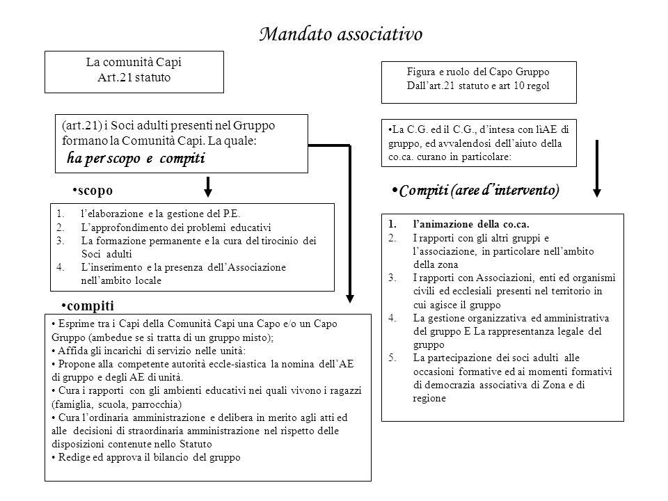 Mandato associativo Compiti (aree d'intervento) scopo compiti