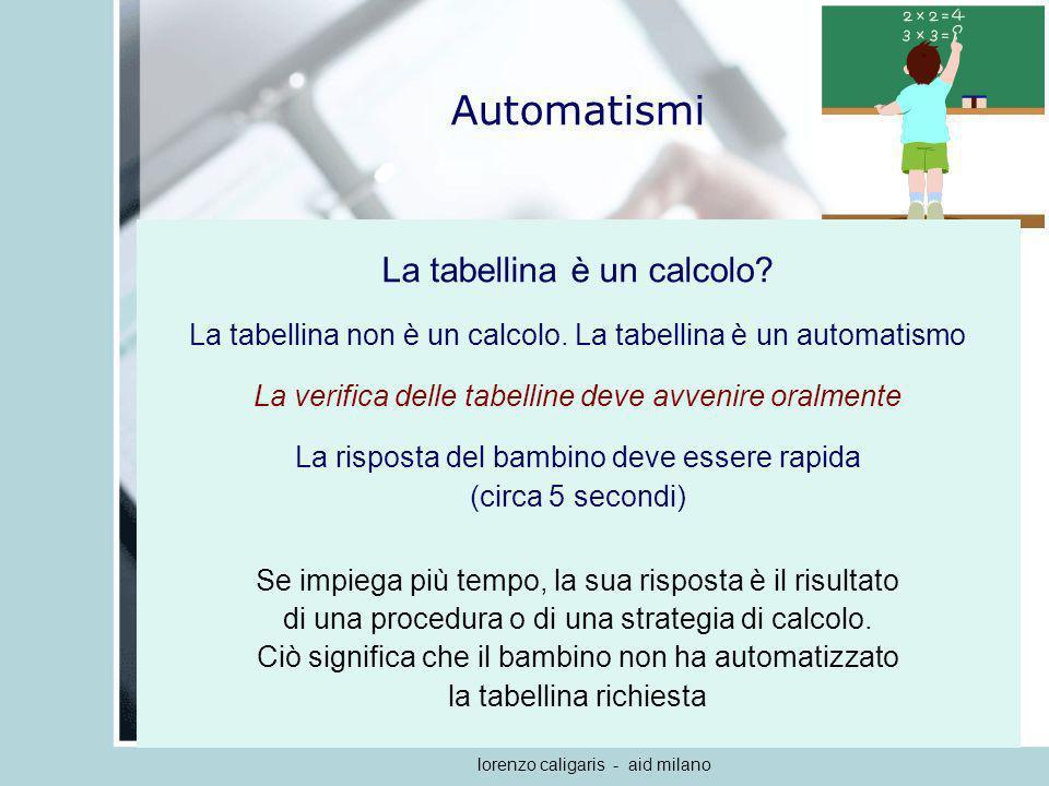 Automatismi La tabellina è un calcolo
