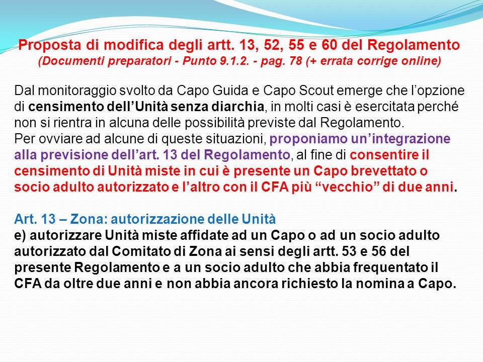 Proposta di modifica degli artt. 13, 52, 55 e 60 del Regolamento