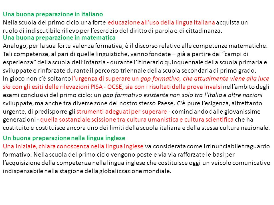 Una buona preparazione in italiano